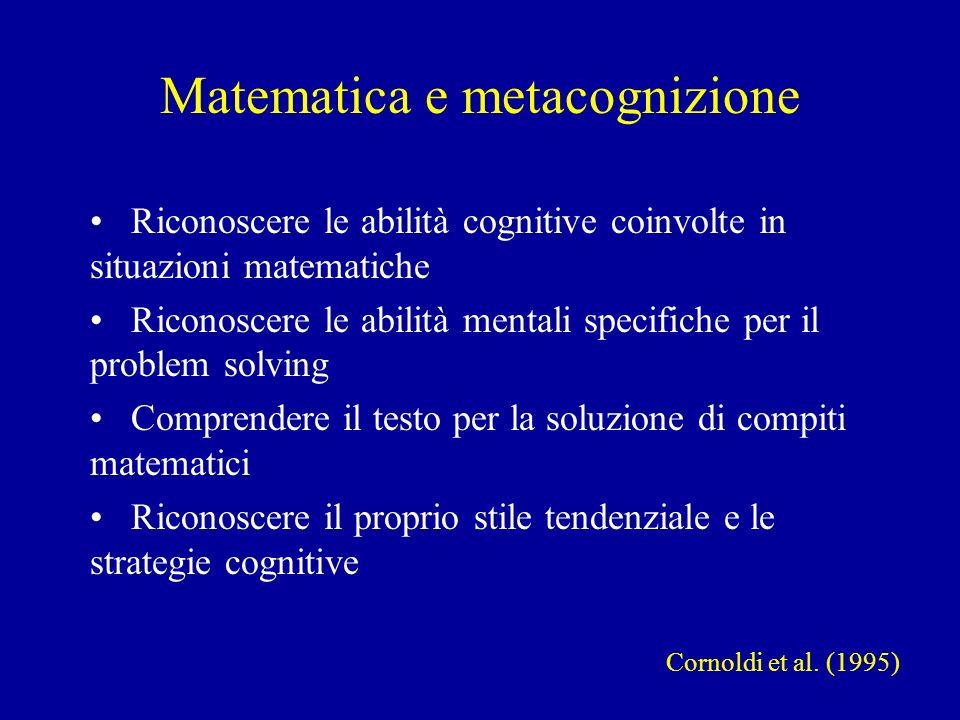 Matematica e metacognizione Cornoldi et al. (1995) Riconoscere le abilità cognitive coinvolte in situazioni matematiche Riconoscere le abilità mentali