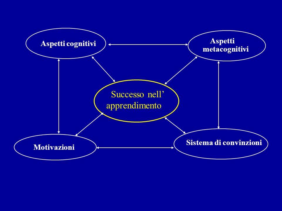 Aspetti cognitivi Aspetti metacognitivi Motivazioni Sistema di convinzioni Successo nell apprendimento