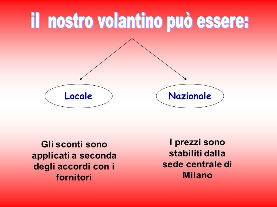Nazionale Gli sconti sono applicati a seconda degli accordi con i fornitori Locale I prezzi sono stabiliti dalla sede centrale di Milano