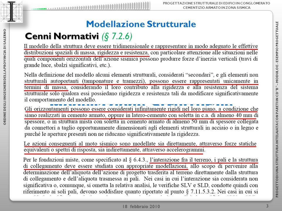 18 febbraio 2010 3 Modellazione Strutturale ORDINE DEGLI INGEGNERI DELLA PROVINCIA DI SALERNO PROGETTODI UNA STRUTTURA INTELAIATA CON PARETI IN CDB – MODULO E - ESEMPIO PROGETTUALE PROGETTAZIONE STRUTTURALE DI EDIFICI IN CONGLOMERATO CEMENTIZIO ARMATO IN ZONA SISMICA Cenni Normativi Cenni Normativi (§ 7.2.6)