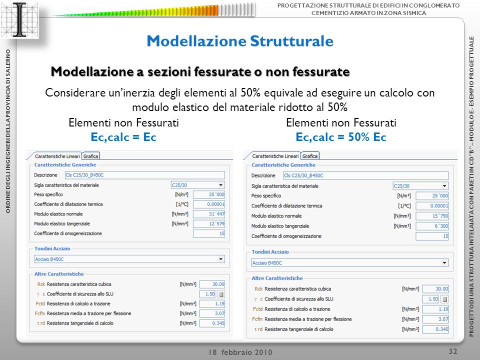 18 febbraio 2010 32 Modellazione Strutturale ORDINE DEGLI INGEGNERI DELLA PROVINCIA DI SALERNO PROGETTODI UNA STRUTTURA INTELAIATA CON PARETI IN CDB – MODULO E - ESEMPIO PROGETTUALE PROGETTAZIONE STRUTTURALE DI EDIFICI IN CONGLOMERATO CEMENTIZIO ARMATO IN ZONA SISMICA Modellazione a sezioni fessurate o non fessurate Elementi non Fessurati Ec,calc = Ec Elementi non Fessurati Ec,calc = 50% Ec Considerare uninerzia degli elementi al 50% equivale ad eseguire un calcolo con modulo elastico del materiale ridotto al 50%