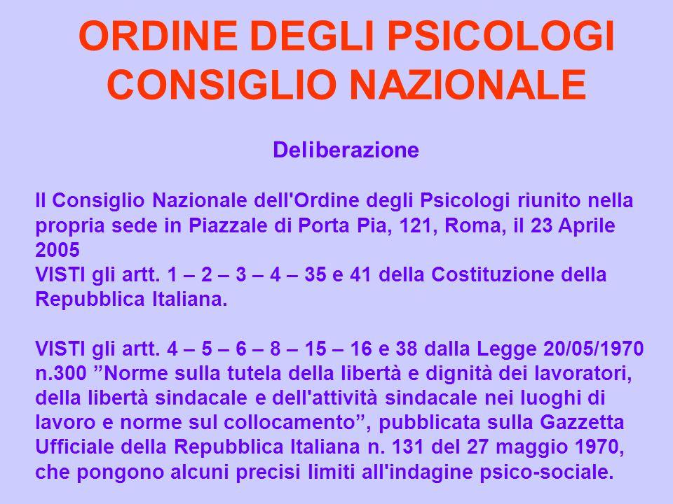 ORDINE DEGLI PSICOLOGI CONSIGLIO NAZIONALE Deliberazione Il Consiglio Nazionale dell'Ordine degli Psicologi riunito nella propria sede in Piazzale di