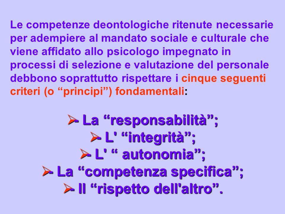 Le competenze deontologiche ritenute necessarie per adempiere al mandato sociale e culturale che viene affidato allo psicologo impegnato in processi d