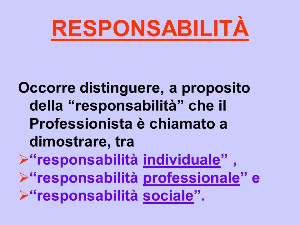 RESPONSABILITÀ Occorre distinguere, a proposito della responsabilità che il Professionista è chiamato a dimostrare, tra responsabilità individuale, re
