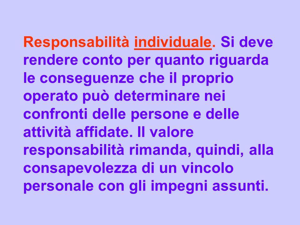 Responsabilità individuale. Si deve rendere conto per quanto riguarda le conseguenze che il proprio operato può determinare nei confronti delle person