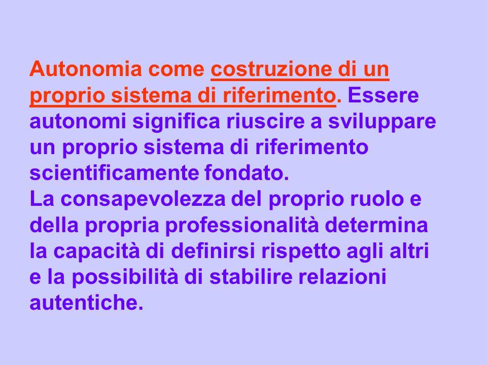 Autonomia come costruzione di un proprio sistema di riferimento. Essere autonomi significa riuscire a sviluppare un proprio sistema di riferimento sci