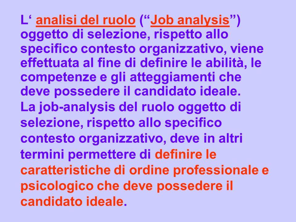 L analisi del ruolo (Job analysis) oggetto di selezione, rispetto allo specifico contesto organizzativo, viene effettuata al fine di definire le abili