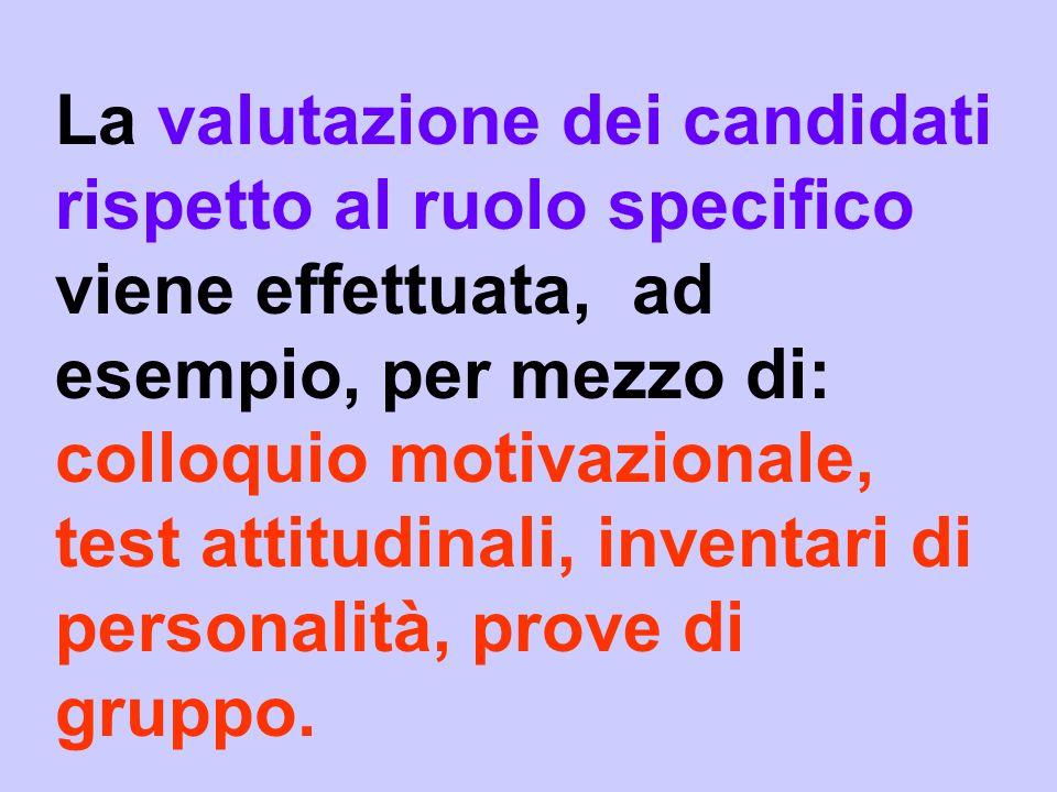 La valutazione dei candidati rispetto al ruolo specifico viene effettuata, ad esempio, per mezzo di: colloquio motivazionale, test attitudinali, inven