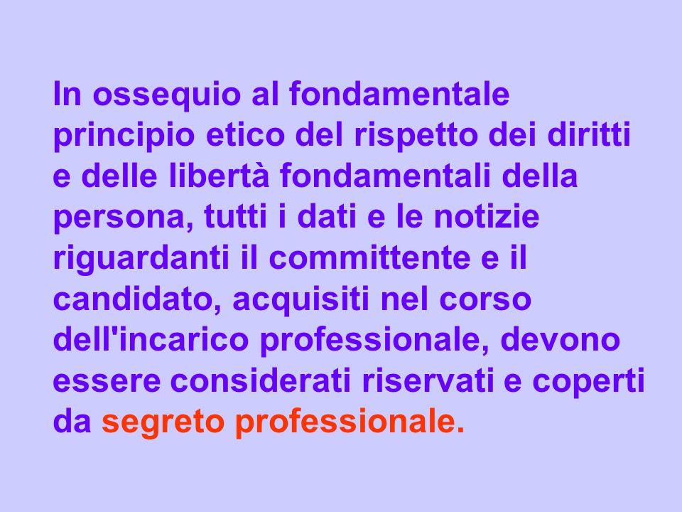 In ossequio al fondamentale principio etico del rispetto dei diritti e delle libertà fondamentali della persona, tutti i dati e le notizie riguardanti