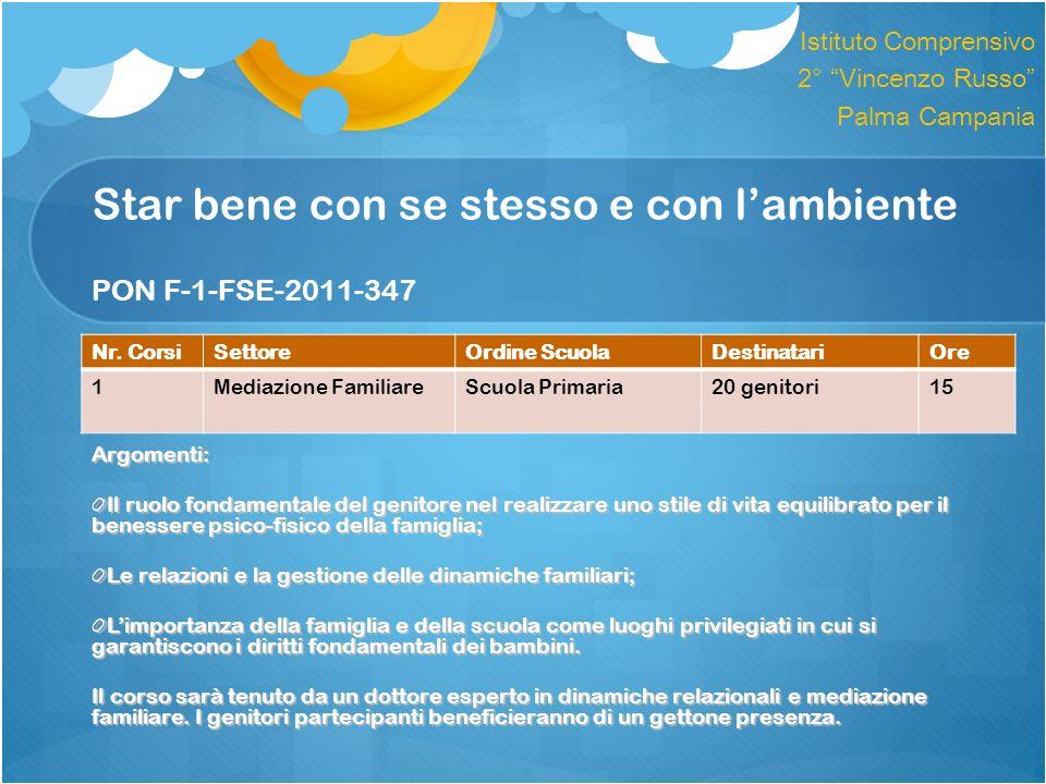 Star bene con se stesso e con lambiente PON F-1-FSE-2011-347 Argomenti: Il ruolo fondamentale del genitore nel realizzare uno stile di vita equilibrat