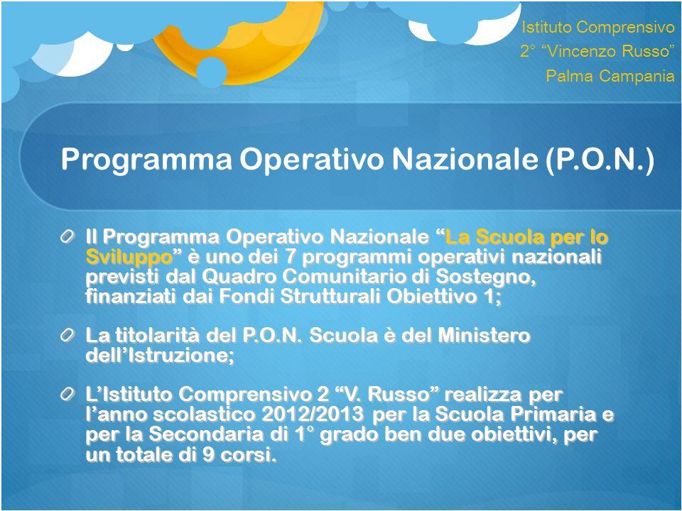 Programma Operativo Nazionale (P.O.N.) Il Programma Operativo Nazionale La Scuola per lo Sviluppo è uno dei 7 programmi operativi nazionali previsti d