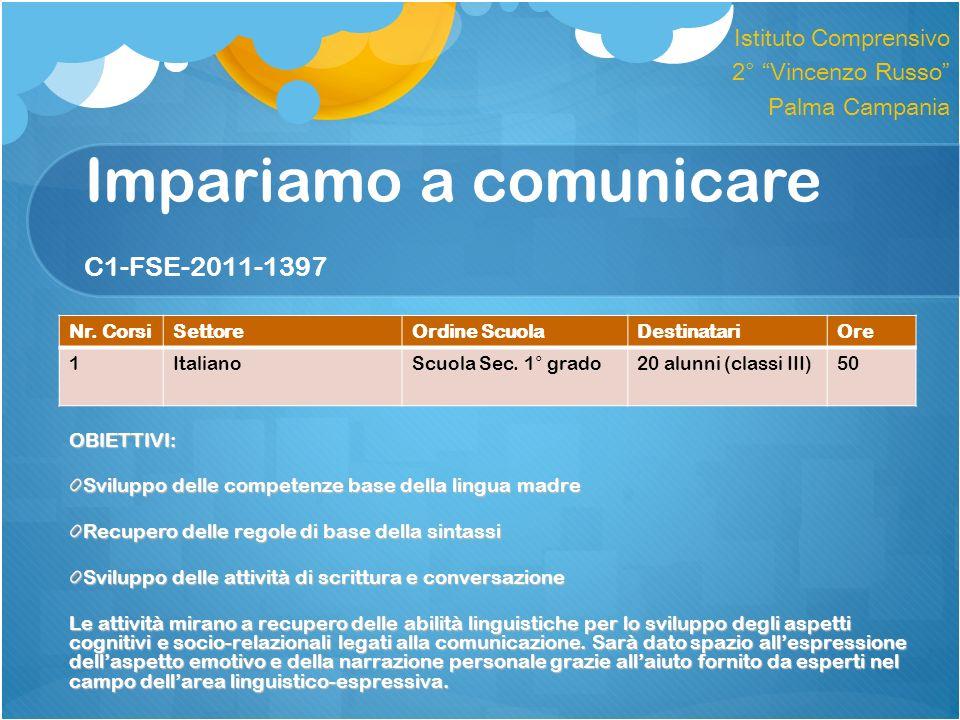 Impariamo a comunicare C1-FSE-2011-1397 OBIETTIVI: Sviluppo delle competenze base della lingua madre Recupero delle regole di base della sintassi Svil