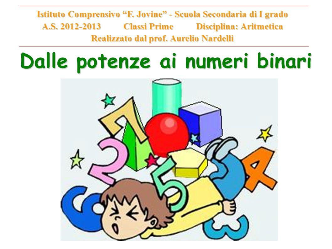 Dalle potenze ai numeri binari Istituto Comprensivo F. Jovine - Scuola Secondaria di I grado A.S. 2012-2013 Classi Prime Disciplina: Aritmetica Realiz
