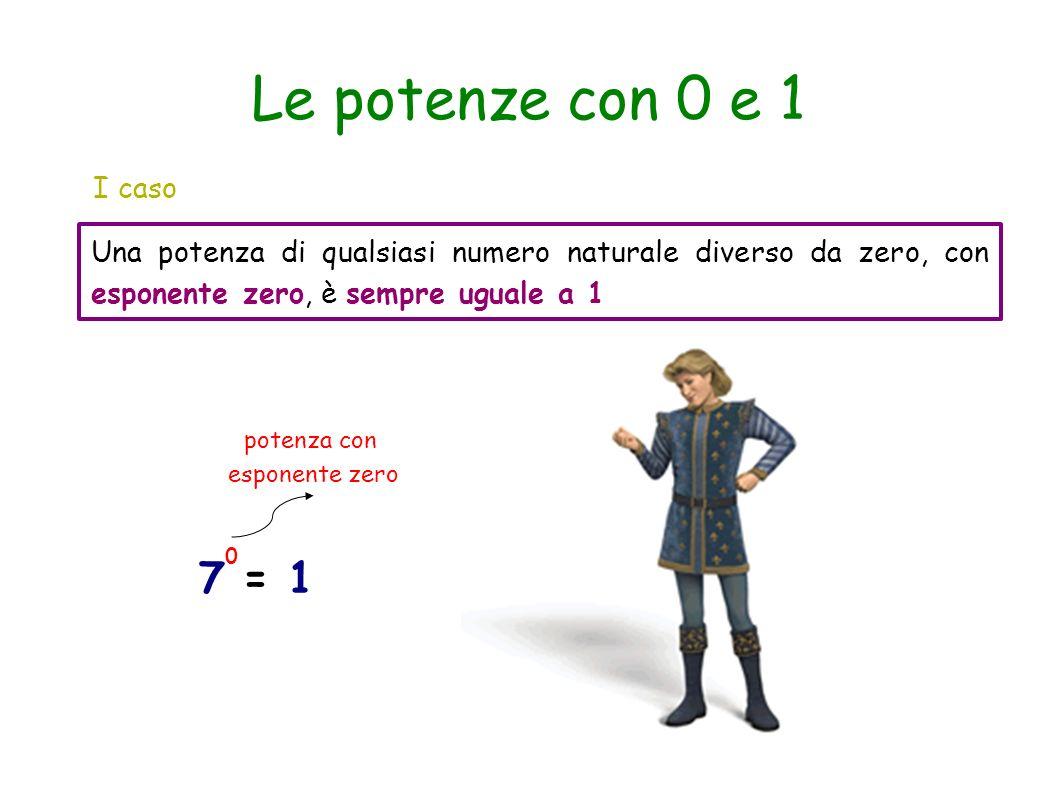 Le potenze con 0 e 1 I caso Una potenza di qualsiasi numero naturale diverso da zero, con esponente zero, è sempre uguale a 1 7 = 1 0 potenza con espo