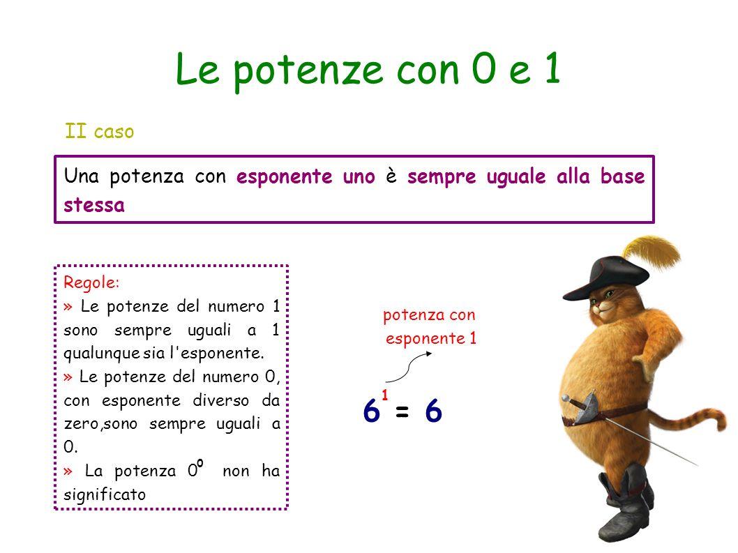 Le potenze con 0 e 1 II caso Una potenza con esponente uno è sempre uguale alla base stessa 6 = 6 1 potenza con esponente 1 Regole: » Le potenze del n