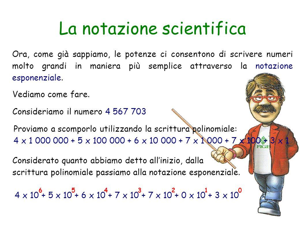 La notazione scientifica Ora, come già sappiamo, le potenze ci consentono di scrivere numeri molto grandi in maniera più semplice attraverso la notazi