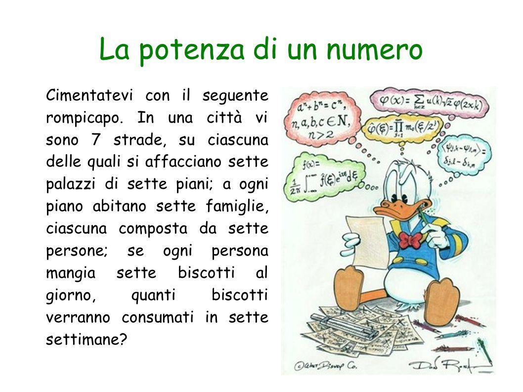 La potenza di un numero Il numero di strade è: 7 Il numero di palazzi è: 7x7=49 Il numero dei piani è: 7x7x7=343 Il numero delle famiglie è: 7x7x7x7=2401 Il numero delle persone è: 7x7x7x7x7=16807 Il numero dei biscotti consumati al giorno è: 7x7x7x7x7x7=117649 Il numero di biscotti consumati alla settimana è: 7x7x7x7x7x7x7=823543 Il numero di biscotti consumati complessivamente in sette settimane è: 7x7x7x7x7x7x7x7=5764801 La soluzione del problema è più facile di quando non sembri a prima vista.