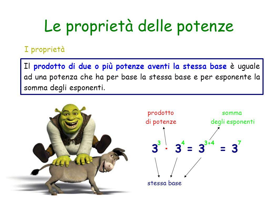 Le proprietà delle potenze I proprietà Il prodotto di due o più potenze aventi la stessa base è uguale ad una potenza che ha per base la stessa base e