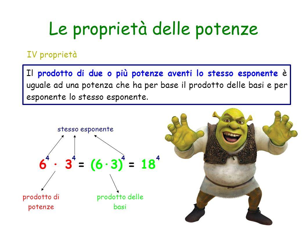 IV proprietà Il prodotto di due o più potenze aventi lo stesso esponente è uguale ad una potenza che ha per base il prodotto delle basi e per esponent