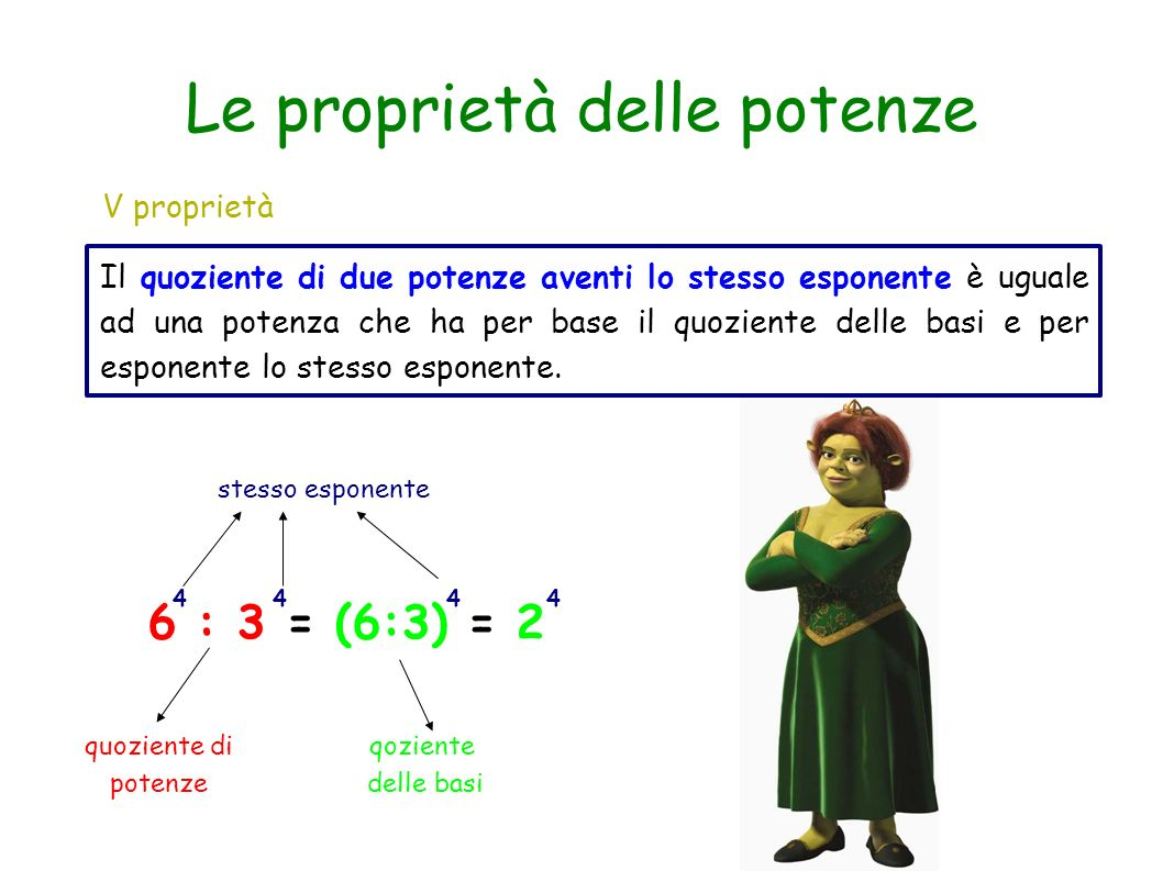V proprietà Il quoziente di due potenze aventi lo stesso esponente è uguale ad una potenza che ha per base il quoziente delle basi e per esponente lo