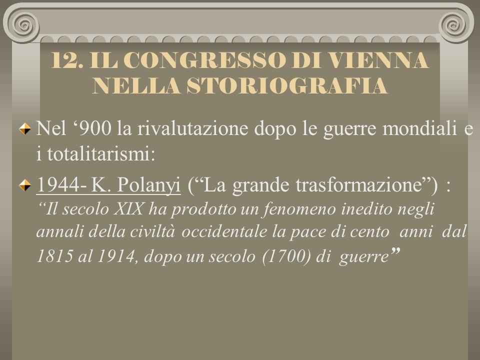 11.Il CONGRESSO DI VIENNA NELLA STORIOGRAFIA Gli storici dell800 (G.