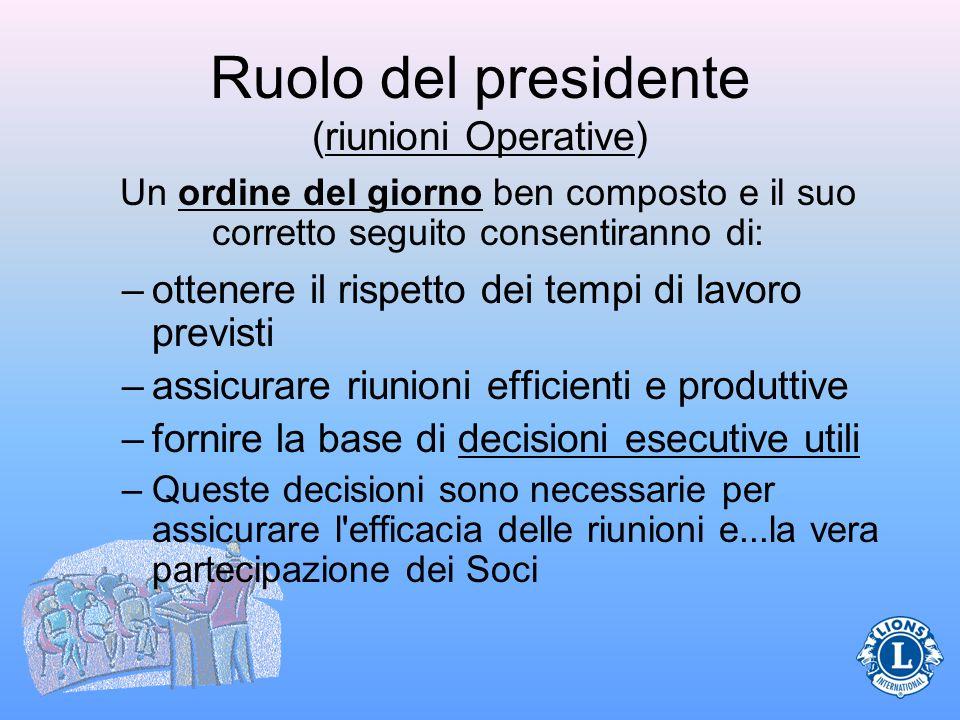Ruolo del presidente (riunioni Operative) –ottenere il rispetto dei tempi di lavoro previsti –assicurare riunioni efficienti e produttive –fornire la