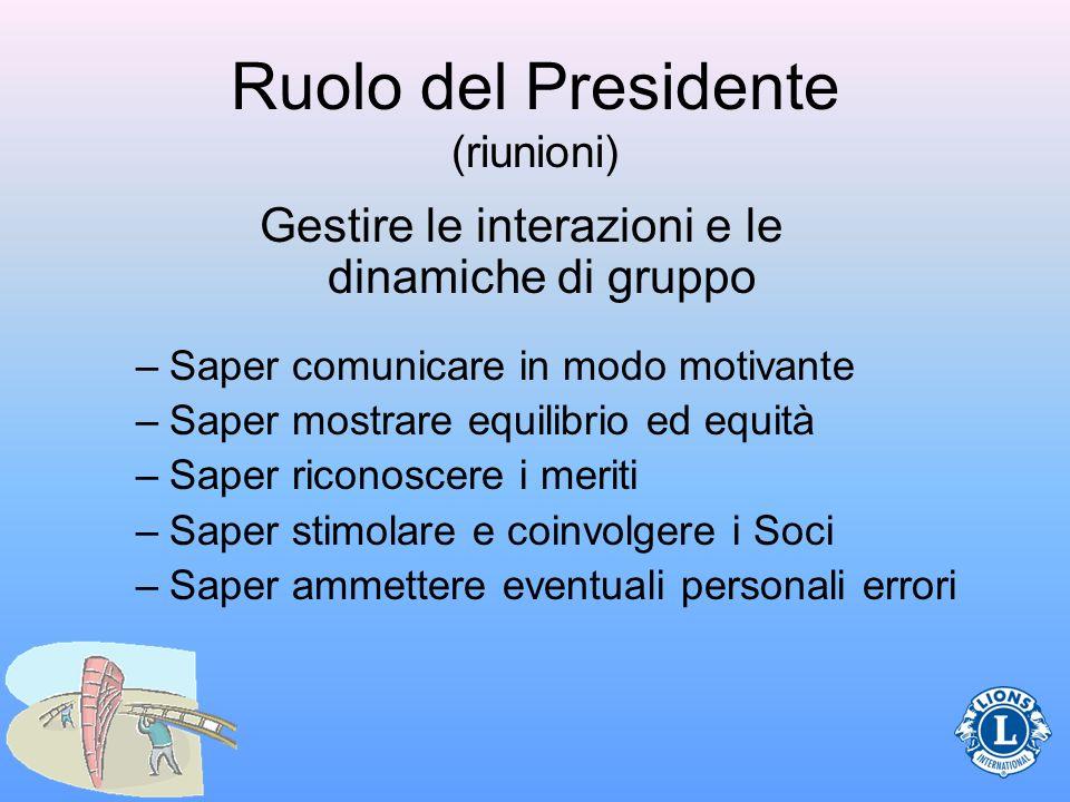 Ruolo del Presidente (riunioni) Gestire le interazioni e le dinamiche di gruppo –Saper comunicare in modo motivante –Saper mostrare equilibrio ed equi