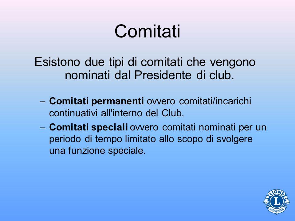 Comitati –Comitati permanenti ovvero comitati/incarichi continuativi all'interno del Club. –Comitati speciali ovvero comitati nominati per un periodo