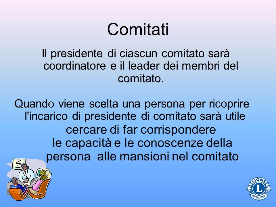 Comitati Il presidente di ciascun comitato sarà coordinatore e il leader dei membri del comitato. Quando viene scelta una persona per ricoprire l'inca