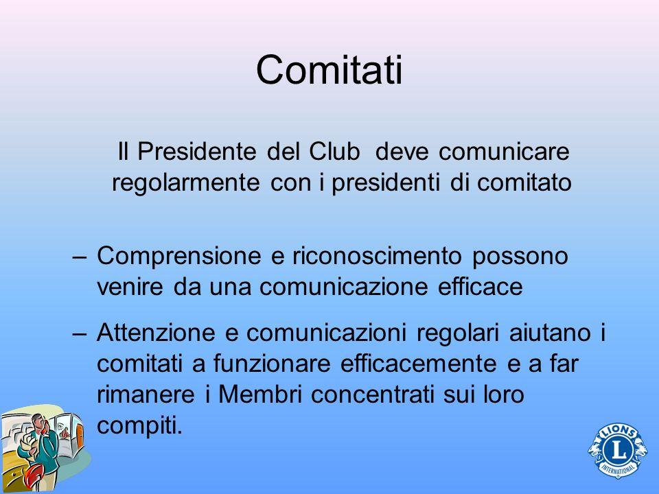 Comitati Il Presidente del Club deve comunicare regolarmente con i presidenti di comitato –Comprensione e riconoscimento possono venire da una comunic