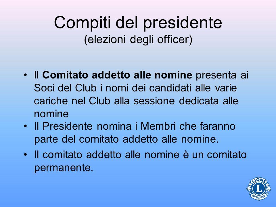 Compiti del presidente (elezioni degli officer) Il Comitato addetto alle nomine presenta ai Soci del Club i nomi dei candidati alle varie cariche nel
