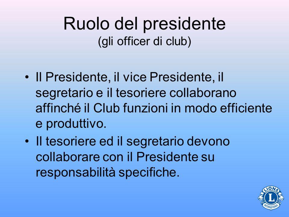 Ruolo del presidente (gli officer di club) Il Presidente, il vice Presidente, il segretario e il tesoriere collaborano affinché il Club funzioni in modo efficiente e produttivo.