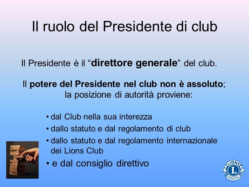 Il ruolo del Presidente di club Il Presidente è il direttore generale del club. Il potere del Presidente nel club non è assoluto; la posizione di auto
