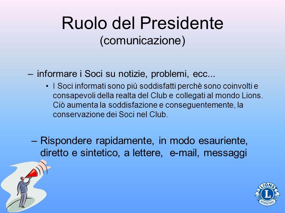 Ruolo del Presidente (comunicazione) –informare i Soci su notizie, problemi, ecc... I Soci informati sono più soddisfatti perchè sono coinvolti e cons