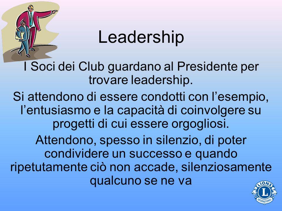 Leadership I Soci dei Club guardano al Presidente per trovare leadership. Si attendono di essere condotti con lesempio, lentusiasmo e la capacità di c