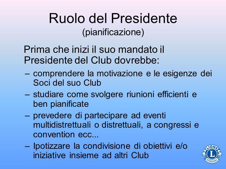 Ruolo del Presidente (pianificazione) Prima che inizi il suo mandato il Presidente del Club dovrebbe: –comprendere la motivazione e le esigenze dei So