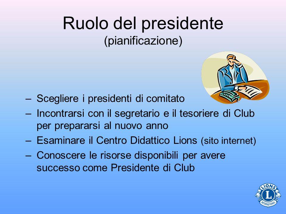 Ruolo del presidente (pianificazione) –Scegliere i presidenti di comitato –Incontrarsi con il segretario e il tesoriere di Club per prepararsi al nuov