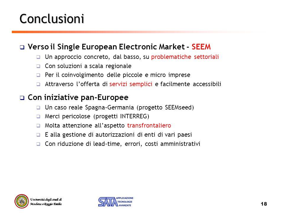 Università degli studi di Modena e Reggio Emilia 18 Conclusioni Verso il Single European Electronic Market - SEEM Un approccio concreto, dal basso, su