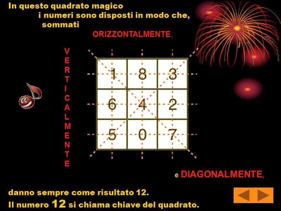 In questo quadrato magico i numeri sono disposti in modo che, sommati ORIZZONTALMENTE, V E R T I C A L M E N T E e DIAGONALMENTE, danno sempre come ri