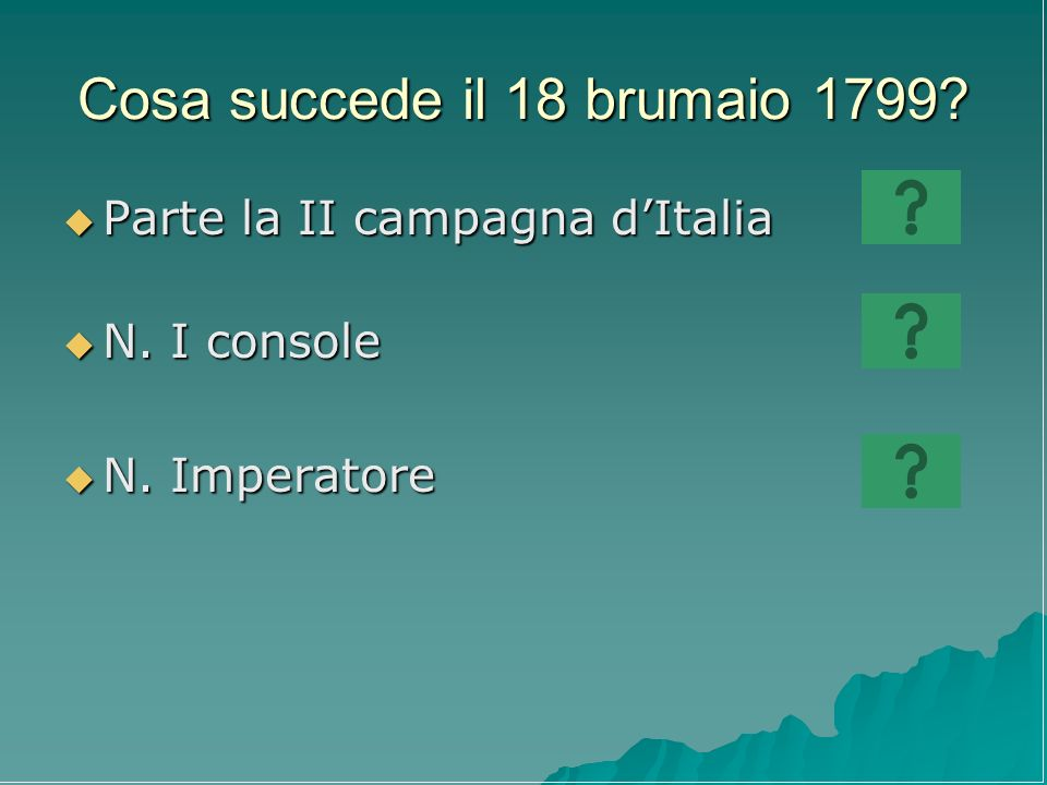 Cosa succede il 18 brumaio 1799? Parte la II campagna dItalia Parte la II campagna dItalia N. I console N. I console N. Imperatore N. Imperatore