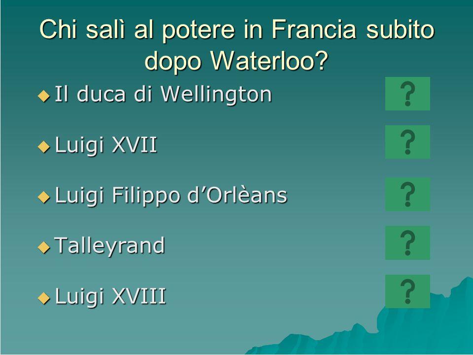 Chi salì al potere in Francia subito dopo Waterloo? Il duca di Wellington Il duca di Wellington Luigi XVII Luigi XVII Luigi Filippo dOrlèans Luigi Fil