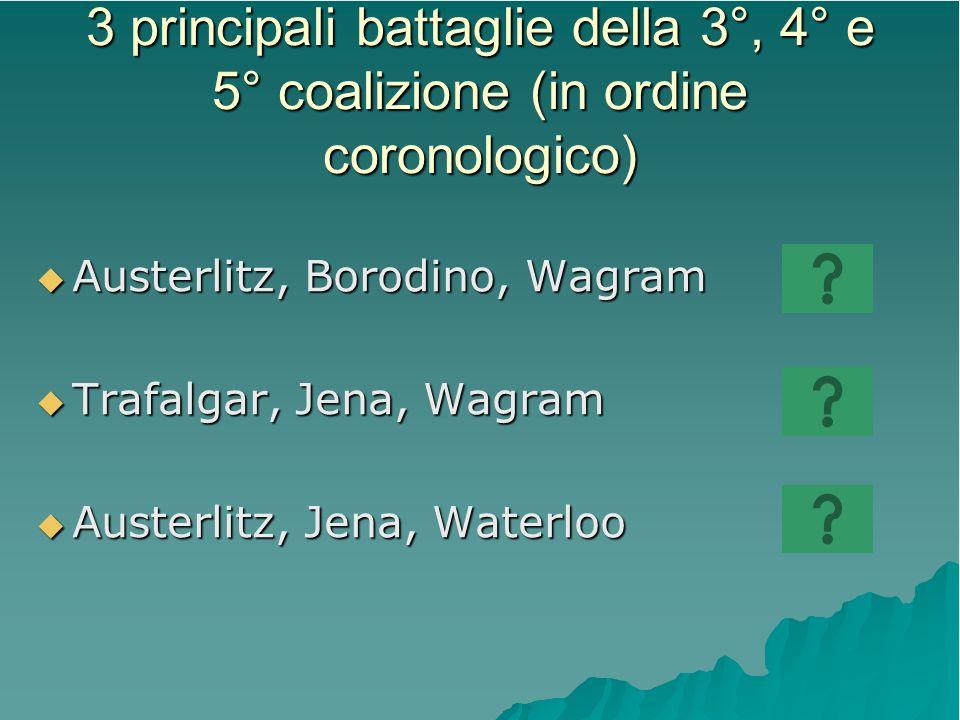 3 principali battaglie della 3°, 4° e 5° coalizione (in ordine coronologico) Austerlitz, Borodino, Wagram Austerlitz, Borodino, Wagram Trafalgar, Jena