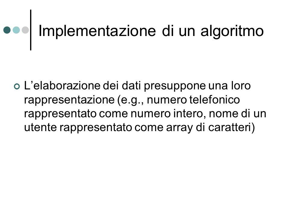 Implementazione di un algoritmo Lelaborazione dei dati presuppone una loro rappresentazione (e.g., numero telefonico rappresentato come numero intero,