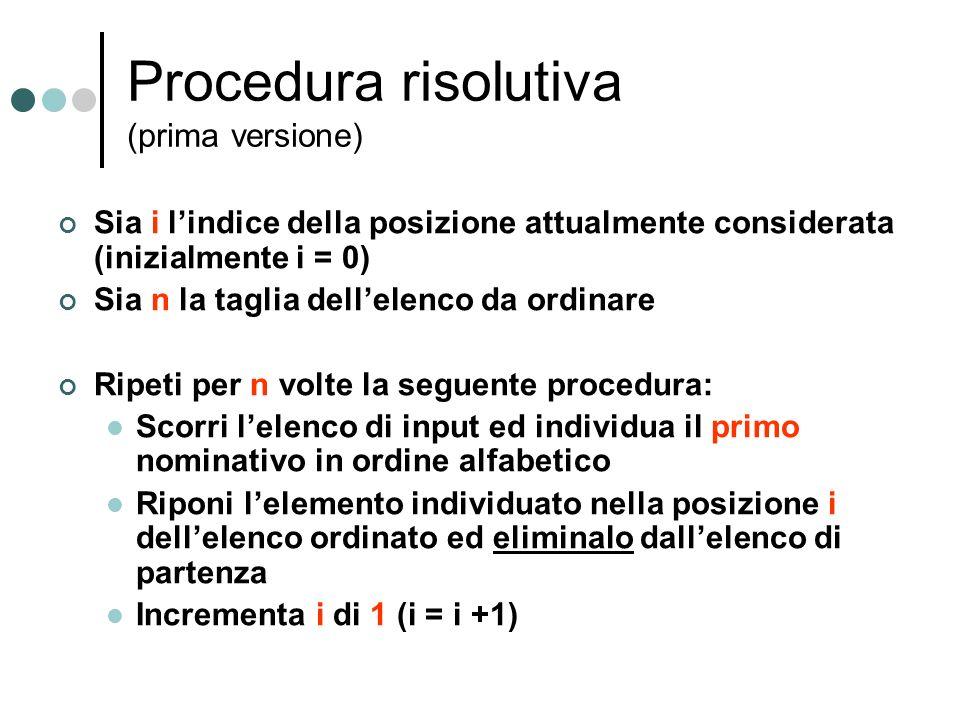 Procedura risolutiva (prima versione) Sia i lindice della posizione attualmente considerata (inizialmente i = 0) Sia n la taglia dellelenco da ordinar