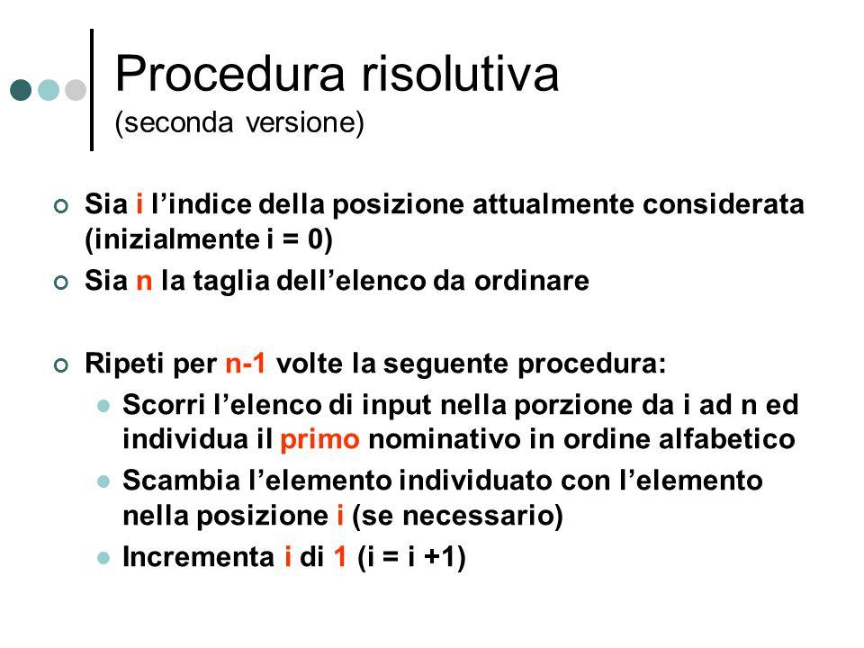 Procedura risolutiva (seconda versione) Sia i lindice della posizione attualmente considerata (inizialmente i = 0) Sia n la taglia dellelenco da ordin