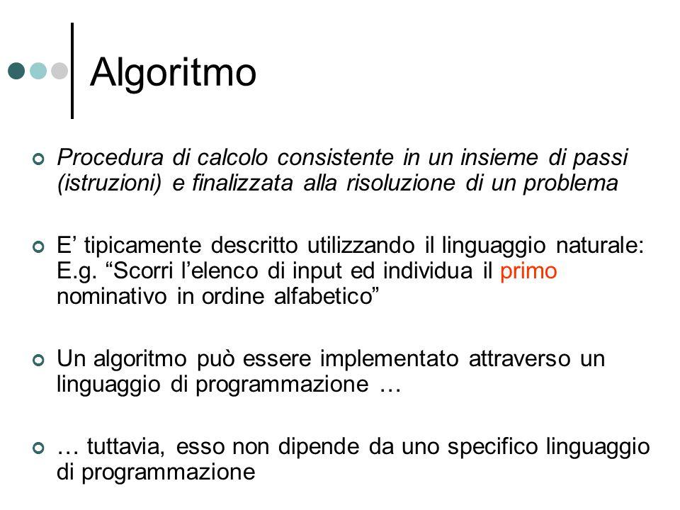 Algoritmo Procedura di calcolo consistente in un insieme di passi (istruzioni) e finalizzata alla risoluzione di un problema E tipicamente descritto u