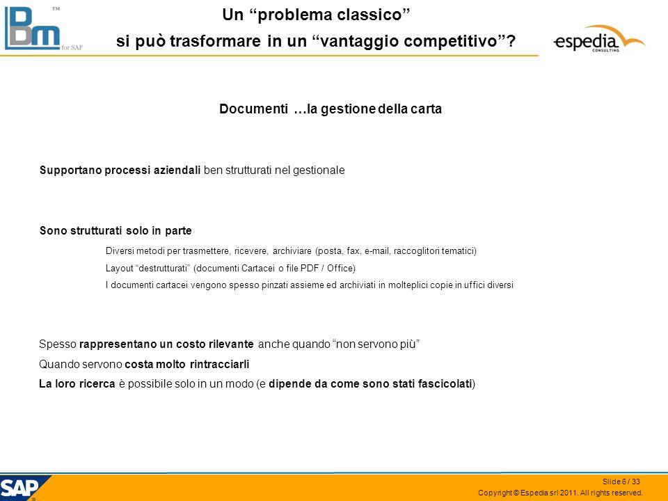 Copyright © Espedia srl 2011. All rights reserved. Documenti …la gestione della carta Supportano processi aziendali ben strutturati nel gestionale Son