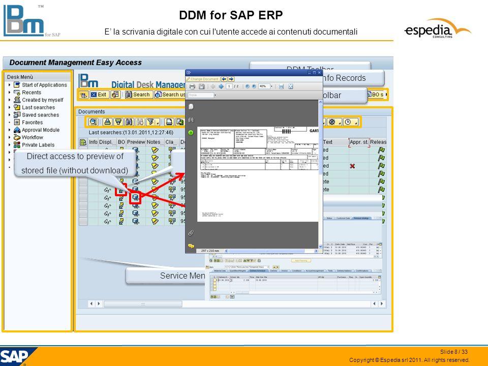 Copyright © Espedia srl 2011. All rights reserved. DDM for SAP ERP E la scrivania digitale con cui l'utente accede ai contenuti documentali Service Me