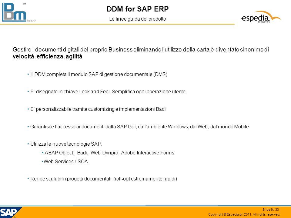 Copyright © Espedia srl 2011. All rights reserved. DDM for SAP ERP Le linee guida del prodotto Gestire i documenti digitali del proprio Business elimi