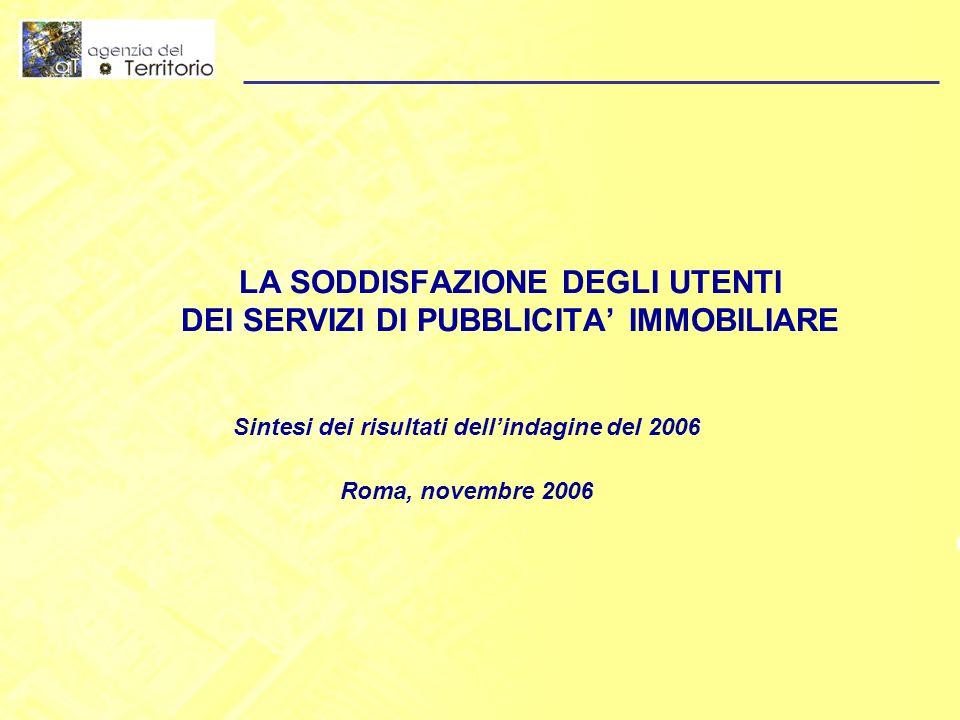 LA SODDISFAZIONE DEGLI UTENTI DEI SERVIZI DI PUBBLICITA IMMOBILIARE Sintesi dei risultati dellindagine del 2006 Roma, novembre 2006